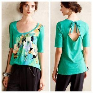 Anthro Akemi + Kin Sea Green Floral Blouse Top